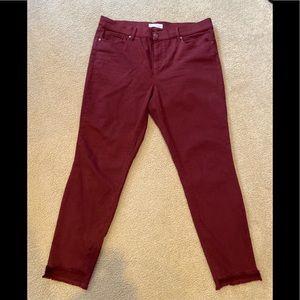 Loft burgundy skinny jeans